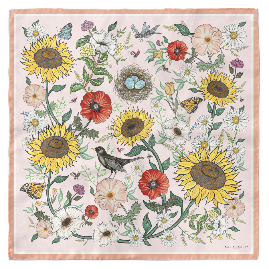 Blackbirds & Sunflowers Silk Scarf