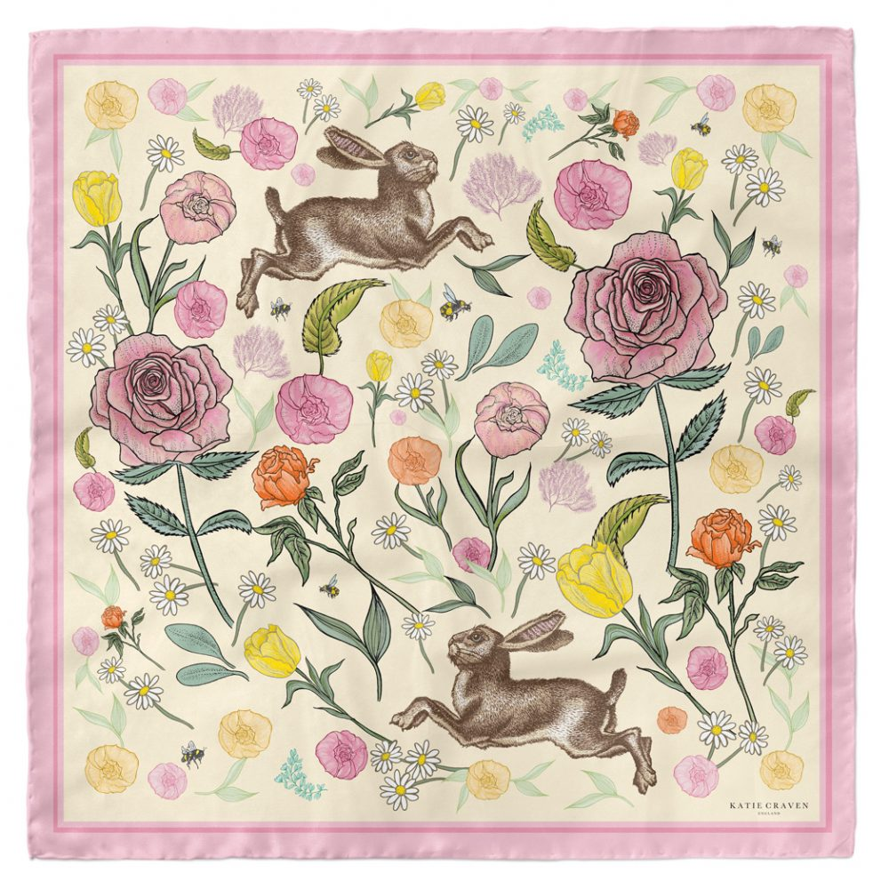 Jumping Hares & Roses Silk Scarf