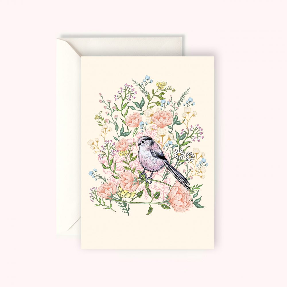 Longtailed Tit card KC