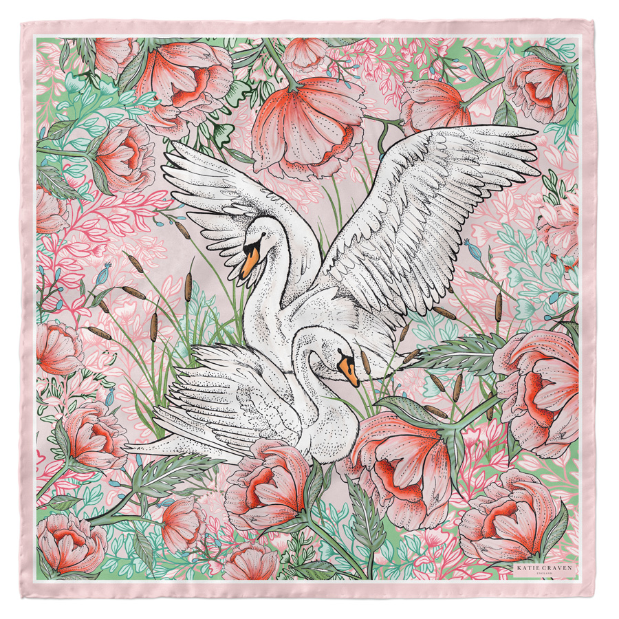 Swan Love Silk Scarf