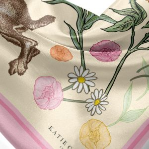 Jumping Hare & Roses Scarf