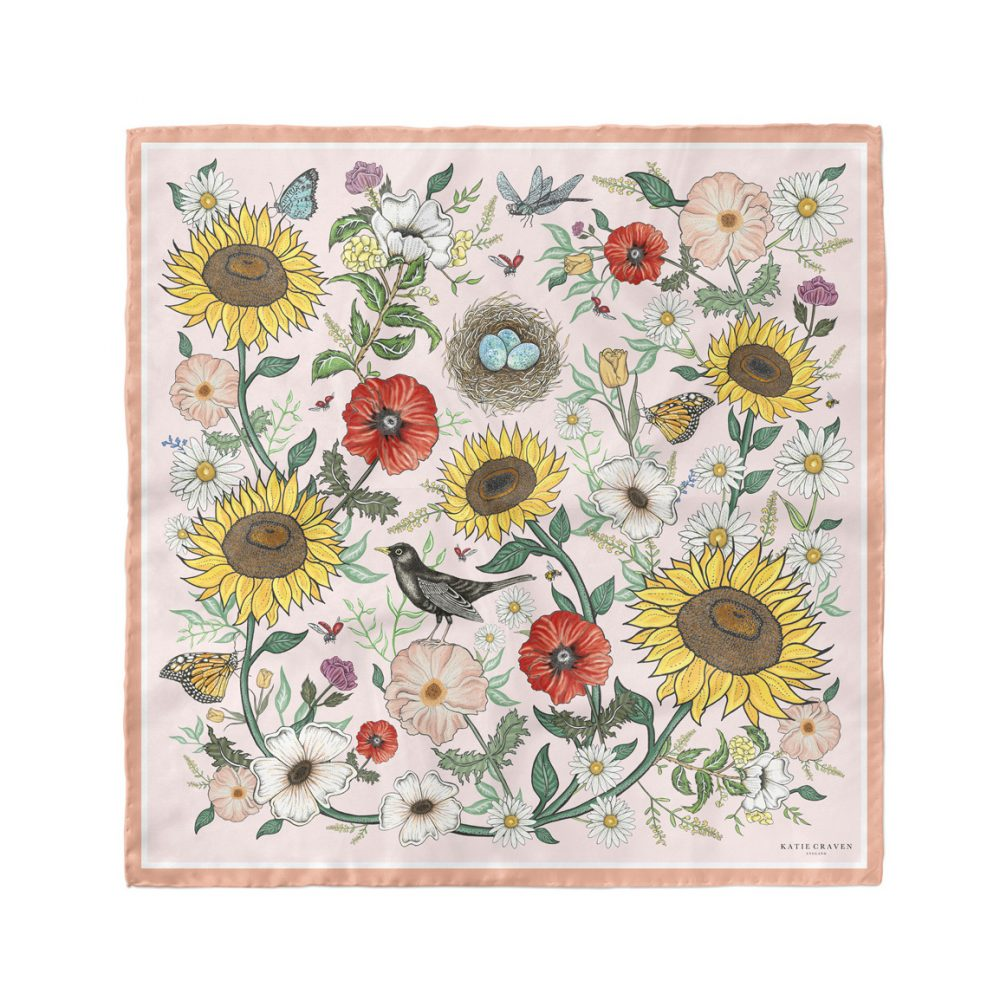 Blackbirds-&-Sunflowers-Neckerchief