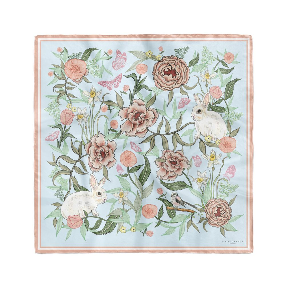 Bunnies and Peonies Silk Neckerchief