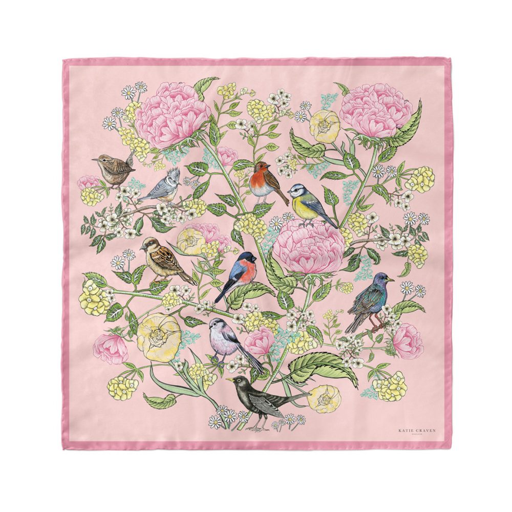 Garden Birds Silk Neckerchief