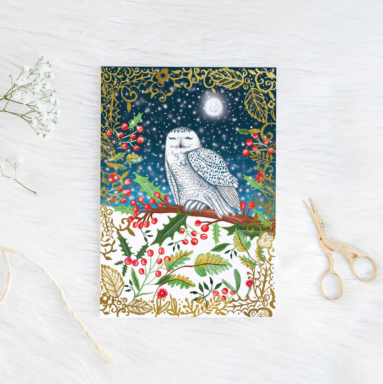 Snowy Owl Christmas Card – Katie Craven | Luxury cushions, wallpaper ...